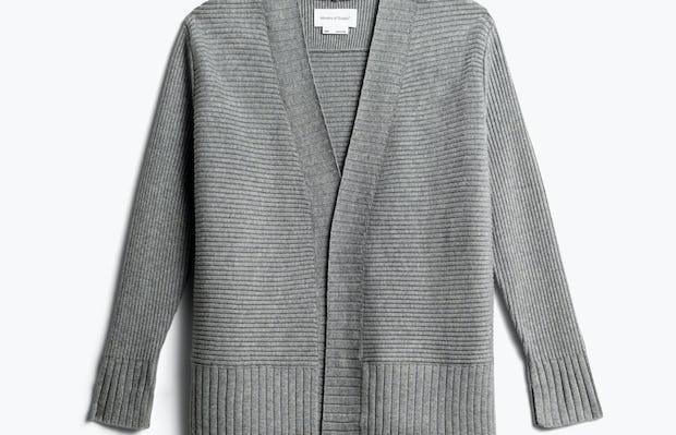 women's light grey composite merino cardigan front