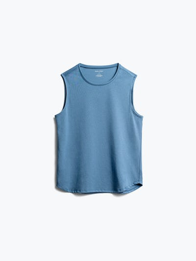 women's storm blue recycled composite merino tank front