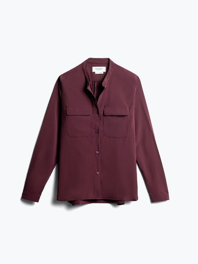 women's burgundy juno patch pocket blouse front