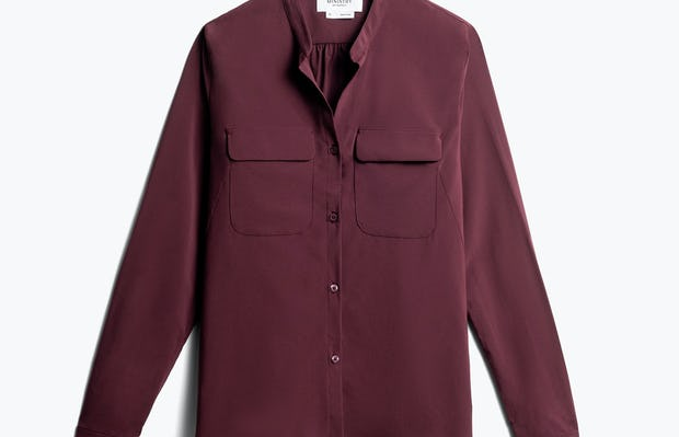 women's burgundy juno patch pocket blouse front