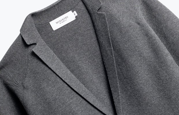 Close up on Mens Charcoal 3D Knit Blazer Front