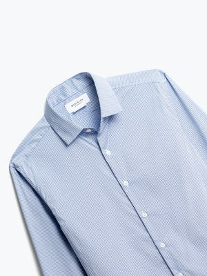 close up of men's blue on blue grid aero dress shirt shot of front