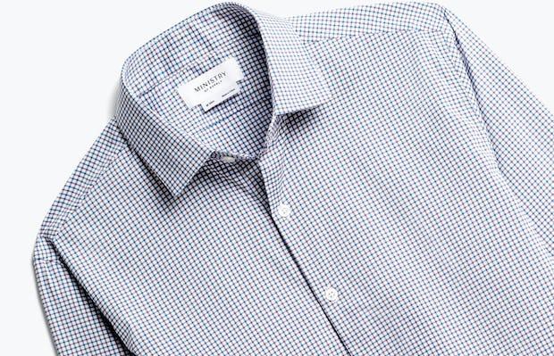 Close up of Men's Aero Dress Shirt Purple Tattersall Front
