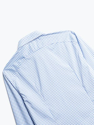 close up of men's blue grid aero dress shirt shot of back