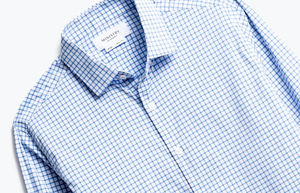 close up of men's blue grid aero dress shirt shot of front