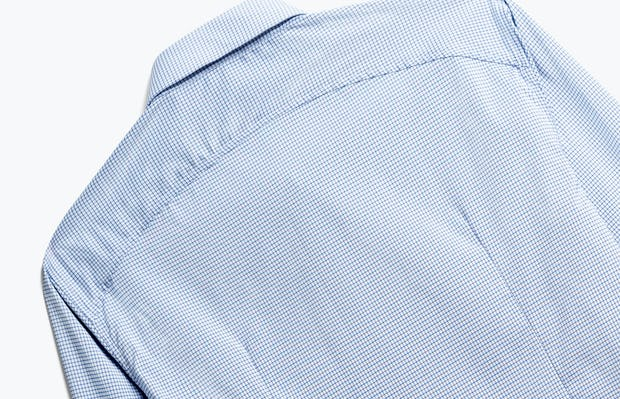 close up of men's blue on blue grid aero dress shirt shot of back