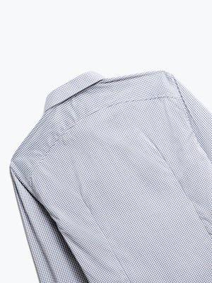close up of men's purple tattersall aero dress shirt shot of back