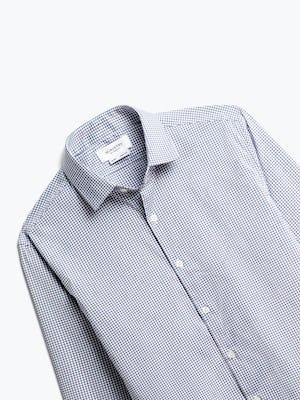 close up of men's purple tattersall aero dress shirt shot of front