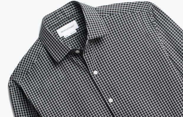 close up of men's black grid aero zero dress shirt shot of front