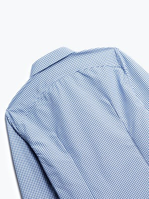 close up of men's blue box plaid aero zero dress shirt shot of back