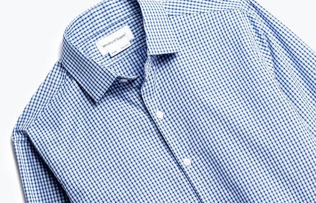 close up of men's blue box plaid aero zero dress shirt shot of front