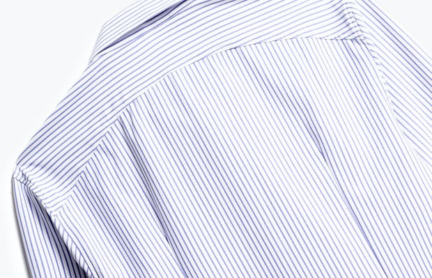 close up of men's blue stripe aero zero dress shirt shot of back