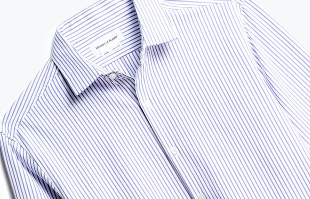 close up of men's blue stripe aero zero dress shirt shot of front