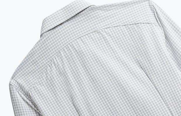 Close up of Mens Grey Grid Aero Zero Dress Shirt - Back