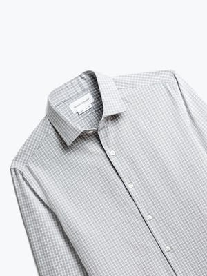 Close up of Mens Grey Grid Aero Zero Dress Shirt - Front