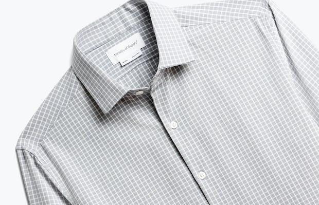 Close up of Mens Grey Grid Aero Zero Dress Shirt - Front
