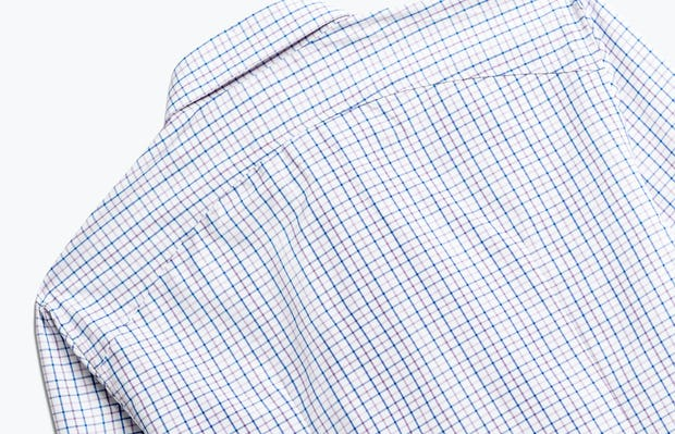 close up of men's lavender tattersall aero zero dress shirt shot of back