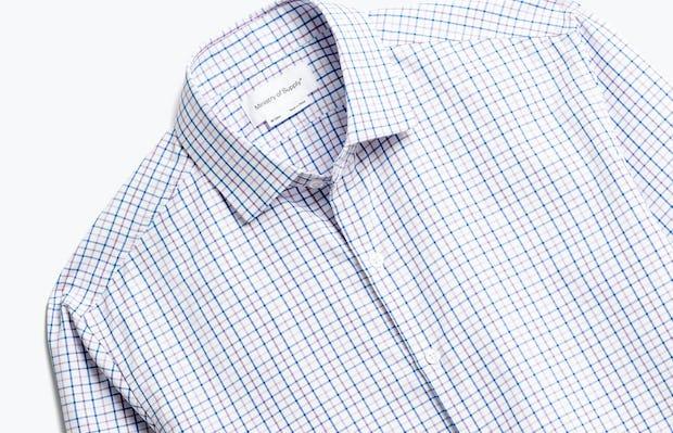 close up of men's lavender tattersall aero zero dress shirt shot of front