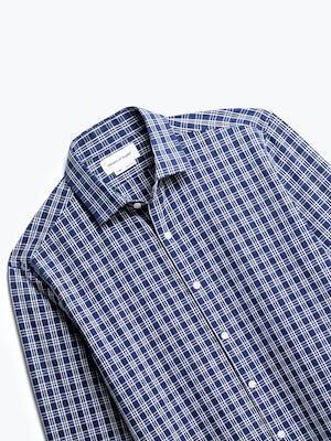 close up of men's midnight multi plaid aero zero dress shirt shot of front