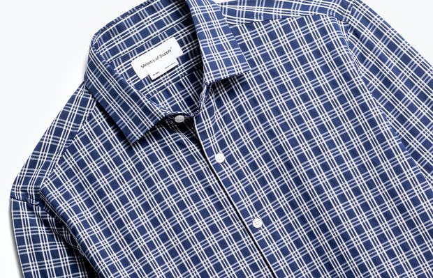 close up of men's midnight multi plaid aero zero dress shirt shot of front
