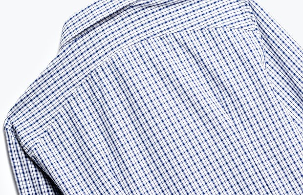 close up of men's midnight stripe plaid aero zero dress shirt shot of back