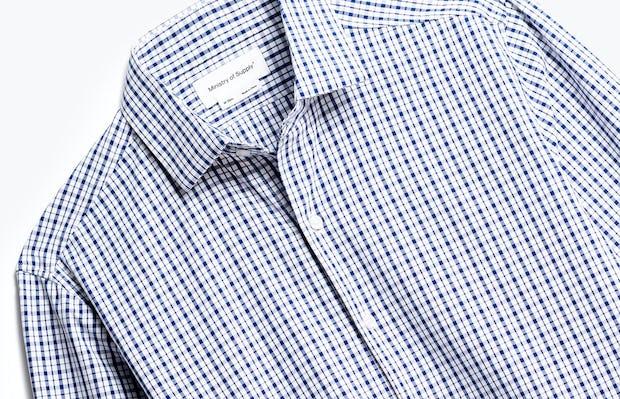 close up of men's midnight stripe plaid aero zero dress shirt shot of front
