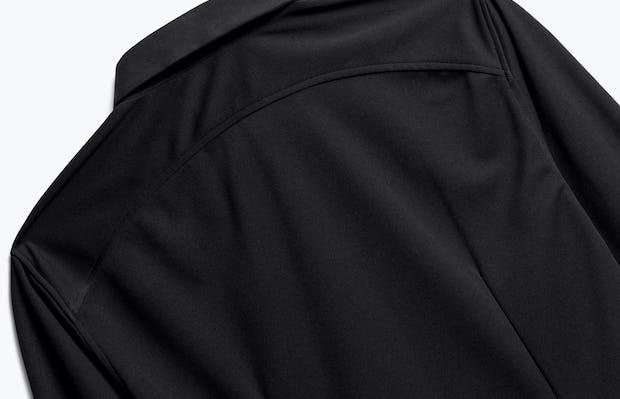 close up of men's black apollo dress shirt shot of back