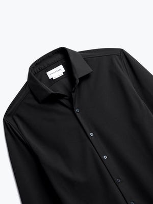 close up of men's black apollo dress shirt shot of front