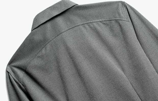 close up of men's charcoal heather brushed apollo dress shirt shot of back
