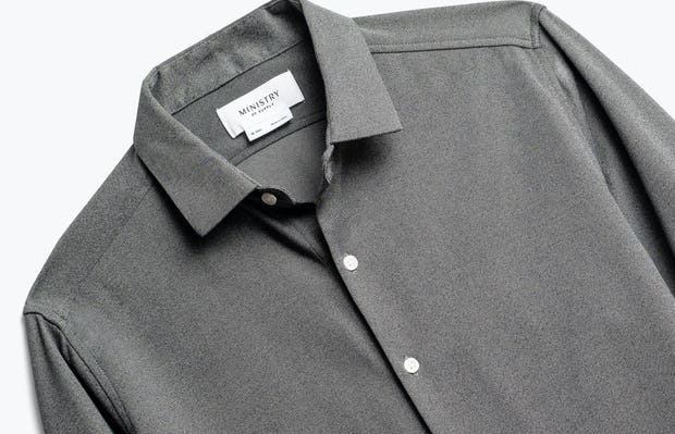 close up of men's charcoal heather brushed apollo dress shirt shot of front