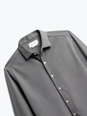 close up of men's granite oxford brushed apollo dress shirt shot of front