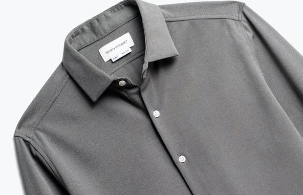 close up of men's granite oxford brushed apollo dress shirt shot of front