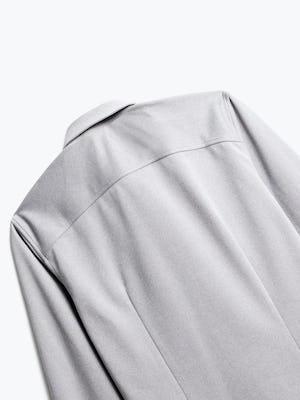 close up of men's grey white heather apollo dress shirt shot of back