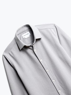 close up of men's grey white heather apollo dress shirt shot of front