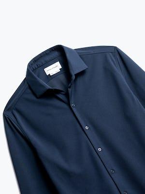 close up of men's navy apollo dress shirt shot of front