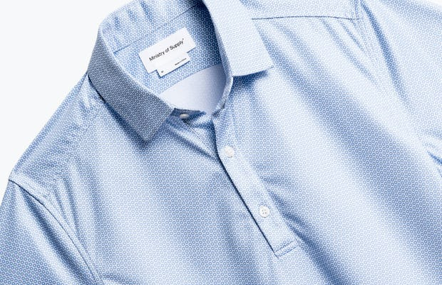 close up of men's blue degree apollo polo shot of front