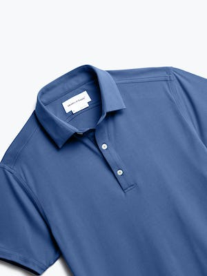 close up of men's navy oxford apollo polo shot of front