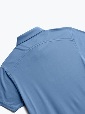 close up of men's royal blue heather apollo polo shot of back