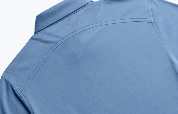 close up of men's royal blue heather apollo polo shot of back
