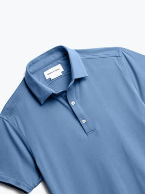 close up of men's royal blue heather apollo polo shot of front