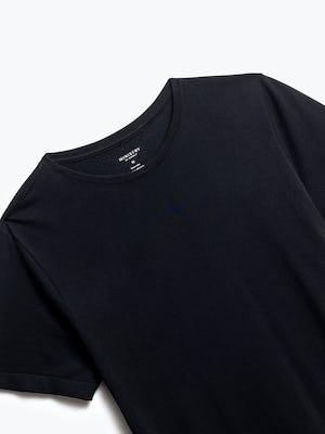 close up of men's black atlas crew neck tee shot of front