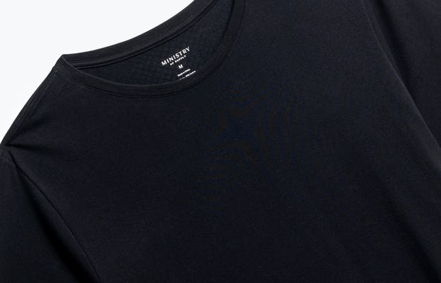 close up of men's black atlas crew neck tee shot of front