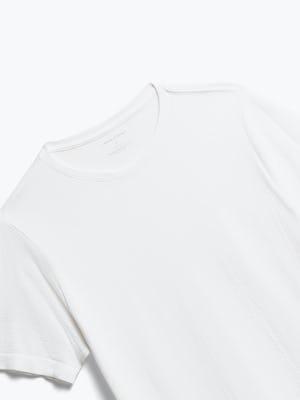 close up of men's white atlas crew neck tee shot of front