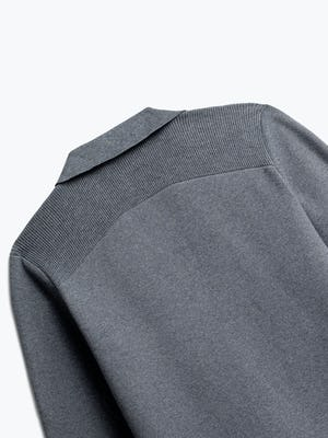 close up of men's grey atlas knit blazer shot of back