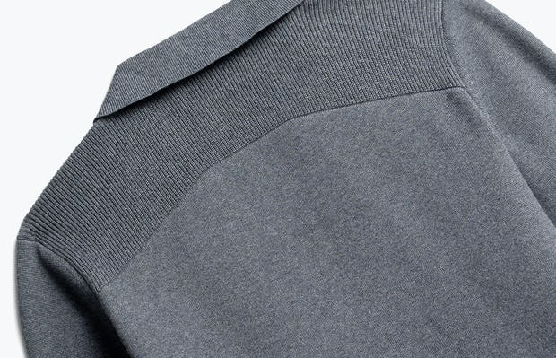 close up of men's grey atlas knit blazer shot of back
