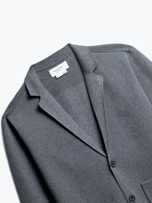 close up of men's grey atlas knit blazer shot of front