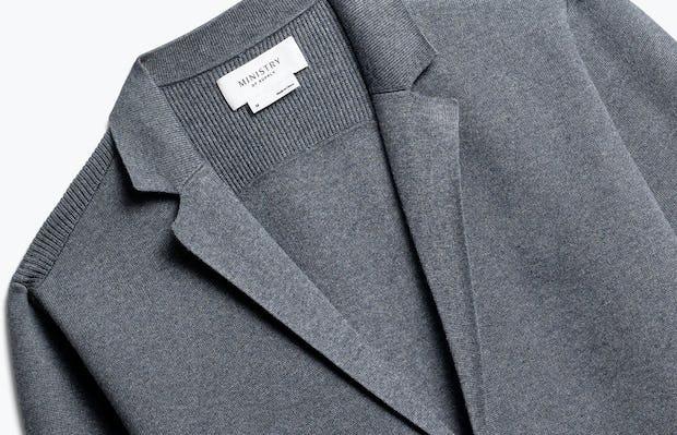 close up of men's grey atlas knit blazer shot of front