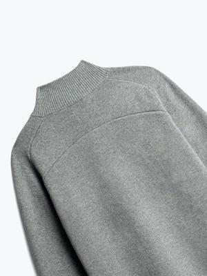 close up of men's light grey atlas merino button collar shot of back