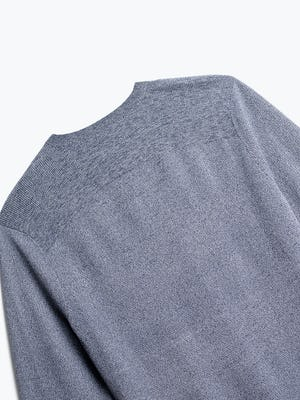 close up of men's indigo static atlas crew neck sweater shot of back