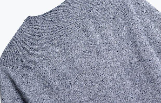 close up of men's indigo static atlas crew neck sweater shot of back